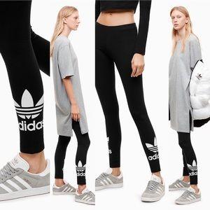 Adidas Black White Trefoil Logo Leggings